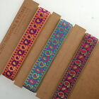 Neotrims Indian Paisley Sari Ribbon Metallic Gold Pink Purple Red 2cm for Crafts
