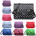 Polka Dot LARGE Leather Vintage Style Work Briefcase School Satchel Shoulder Bag