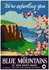 The Blue Mountains, Katoomba, New South Wales. Vintage Travel Poster by J Booker