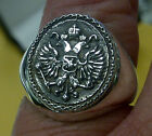 Russian Impirial double head eagle Ring Solid Sterling Silver 925 Sizes 6-14
