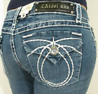 LA Idol Denim Capri Short Blue Classic Jeans Flap Pockets Rhinestone Size 0-13