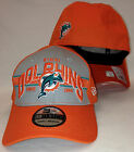 NEW ERA 39Thirty Miami Dolphins Fitted Hat Flex Fit Orange Gray Florida Sun 3D