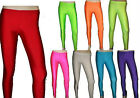 Neon UV Plain Ladies Plain Full Length Leggings 1980s Fancy Dress 8 Colour S M L