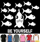 Funny T-Shirts Singlets Be Yourself Fish Be original Hobo Designs Ladies Men's