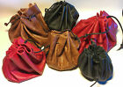Traditional design leather drawstring bag/pouch; historical reenactment/LARP