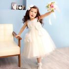 Flower Girls Kids Tulle Skirt Birthday Dance Party Pageant Recital Ivory Dress
