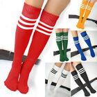 Stock Men Ladies Football Running Knee High Stripe Tube Socks Sports Hosiery New