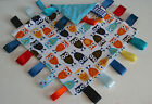 BABY BOYS AND GIRLS OWL TAGGIES TAGGY BLANKETS RIBBONS, MINKY FABRIC, TWO SIZES