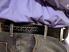 b10bk Cowboy Handtooled Leather & HorseHair Belt Western Braided Rodeo Style