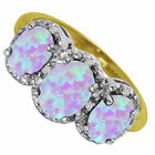 9ct Yellow Gold Opal & Diamond Dress Cluster Ring 2CT Ring Size L - U Hallmarked