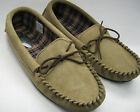 Mens Mocassin Slippers In Beige Suede
