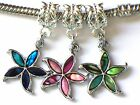 BLUE, PINK OR GREEN PAUA SHELL STARFISH CHARM FITS EUROPEAN BRACELETS - BUY 3 GE