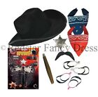Adult Cowboy Fancy Dress Instant Cow Boy Western Hat Bandana Stag Night Party