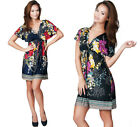 NEW Womens Floral Kaftan Tunic Kimono Summer Plus Size Mini Dress XS S M L XL 2X
