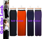NEW CELEB STYLE BLACK HIGH WAISTED STRETCH JERSEY GYPSY LONG MAXI SKIRT 8-14