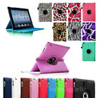 28 Colors iPad 4 Gen/3/iPad 2 Rotating PU Leather Case Stand Cover Auto On/Off