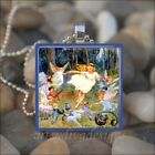 """DANCE OF THE FAIRIES"" VINTAGE FAIRY PIXIE GLASS TILE PENDANT NECKLACE KEYRING"