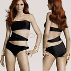 88G Women Black One Piece Cut Out Monokini Swimsuit Bikini Padded Swimwear S/M/L
