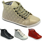 LADIES HIGH TOP TRAINERS GIRLS ANKLE FLAT QUILTED PUMPS SCHOOL DANCE BOOTS SHOES