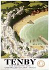 Tenby, Pembrokeshire, Wales. GWR Vintage Travel poster by Ronald Lampitt. 1946