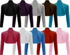 New Ladies Shrug Long Sleeved Bolero Plain Top Womens SIZE Sz 8-14