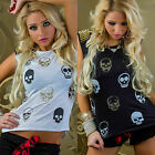 WOW Womens Gold Glitter Skull Print Tshirt Top Stud Studded Shoulders 8 10 12 14