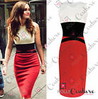 Womens Red White Elegant Pencil Cocktail Evening Ladies Smart Bodycon Midi Dress