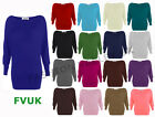 WOMENS BATWING TOP LONG SLEEVED LADIES PLAIN BATWING TOP SIZE 8 10 12  14
