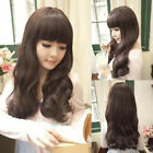 Newest Women Fashion Sexy Long Curly Full Bangs Wavy Hair Wig 3 Colors Available
