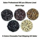 5 Colors 500 Silicone Linded Micro Rings Beads For Stick I Tip Hair Extensions