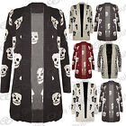 New Womens Skull Front Open Sweater Ladies Waterfall Knitted Long Cardigan Top