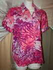 Womans Pappagallo Abstract Button Down Top Size M or L Reds Short Sleeve NEW NWT