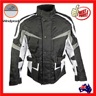 Mens Waterproof Cordura Textile Motorcycle Motorbike Biker Jacket Coat New White