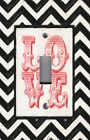 Light Switch Plate Switchplate & Outlet Covers CHEVRON ~ BLACK WHITE ~ RED LOVE