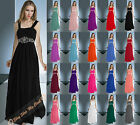 Long Bridesmaid Evening Party Ball Gown Prom Formal Chiffon Dress Beading 6-26