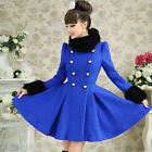 New winter womens coat Fur Collar Jacket slim Fit double-breasted wool Overcoat