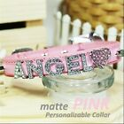 Personalized Luxury Leather Foxy Dog/Cat Collar- Matte Pink w/ Letters&Charms XL