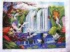 "NewFinished Completed CrossStitch needlepoint""cranes and waterfall""freeshipping"