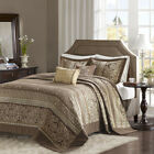 BEAUTIFUL XXL MODERN CHIC LUXURY ELEGANT BROWN GOLD TAUPE BEDSPREAD QUILT SET  image