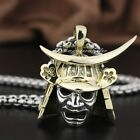 Brass Japanese Samurai Armor 925 Sterling Silver Face Mark Mens Pendant 8Q024