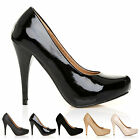 WOMENS BLACK SUEDE CLASSIC CONCEALED PLATFORM COURT SHOES LADIES OFFICE PUMPS SZ