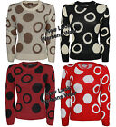 LADIES KNITTED LONG SLEEVE POLKA DOT ROUND NECK JUMPER SWEATER TOP CARDIGAN