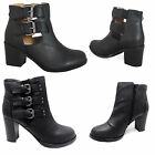 WOMENS LADIES HIGH HEEL BLOCK PLATFORM ANKLE LOW CHELSEA  CUT OUT BOOTS SIZE