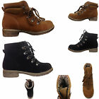 WOMENS LADIES FLEECE LINED ANKLE GRIP SOLE TRAINER LACE UP WINTER SHOES BOOTS