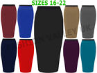 WOMENS PLUS SIZE MIDI PENCIL BODYCON STRETCH LADIES OFFICE MINI SKIRT SIZE 16-22