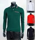 New Mens Stylis Premium Design 3 Line Cotton Long-Sleeve Polo T-Shirts Tops.