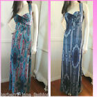 *Caroline MorganEmerald green and dusky blue paisley print maxi dress 8,10,12,14