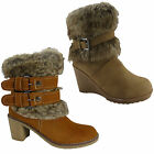 NEW WOMENS LADIES ANKLE FUR GIRLS PLATFORM BUCKLE WINTER SHOES SNOW BOOTS SIZE
