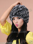 100%Real Genuine Knitted Rex Rabbit Fur Hat Cap Warm Winter Fashion 4 Color Hood
