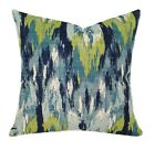 Ikat Throw Pillow, Ikat Craze Birch Frost Slub Modern Decorative Throw Pillow